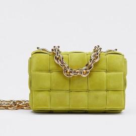 Bottega Veneta Chain Cassette Bag In Kiwi Suede