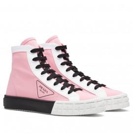 Prada Pink/White Gabardine High-top Sneakers