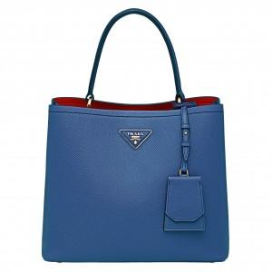 Prada Blue Saffiano Leather Double Bag