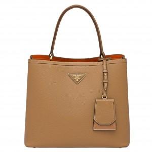 Prada Brown Saffiano Leather Double Bag