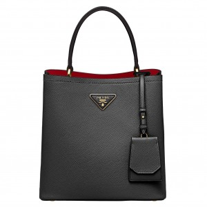 Prada Black Saffiano North South Double Medium Bag