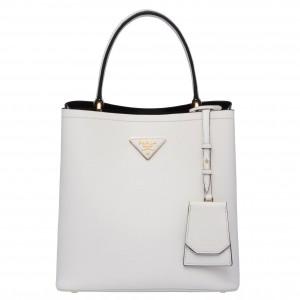 Prada White Saffiano North South Double Medium Bag
