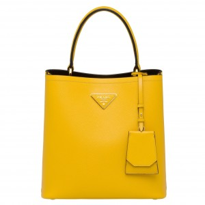 Prada Yellow Saffiano North South Double Medium Bag