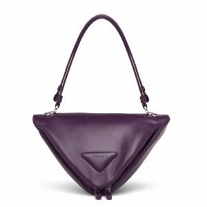 Prada Padded Bag In Purple Nappa Leather