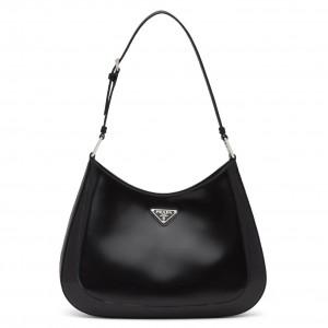 Prada Cleo Shoulder Large Bag In Black Brushed Leather