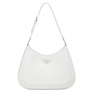 Prada Cleo Shoulder Large Bag In White Brushed Leather