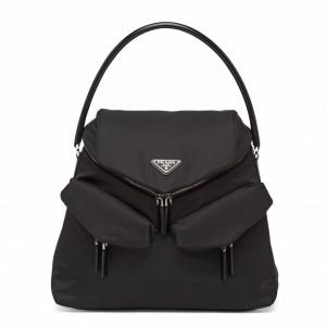 Prada Signaux Hobo In Bag In Black Nylon