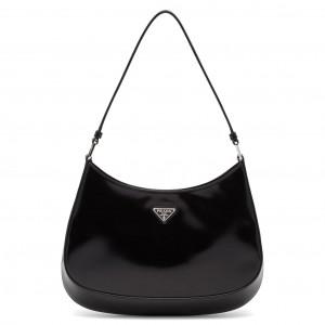 Prada Cleo Small Shoulder Bag In Black Brushed Leather
