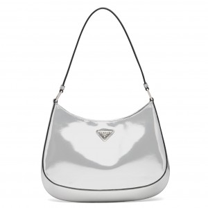 Prada Cleo Small Shoulder Bag In Silver Brushed Leather