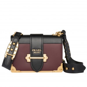 Prada Cahier Shoulder Bag In Bordeaux/Black Leather