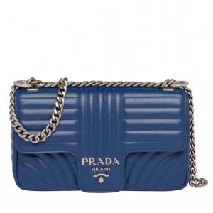 Prada Diagramme Flap Bag In Blue Calfskin