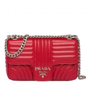 Prada Diagramme Flap Bag In Red Calfskin