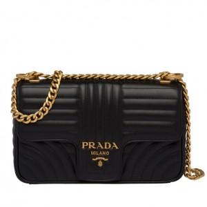 Prada Medium Diagramme Flap Bag In Black Calfskin