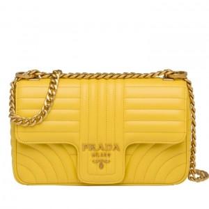 Prada Medium Diagramme Flap Bag In Yellow Calfskin