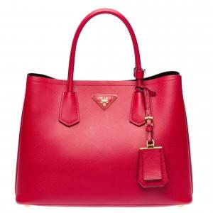 Prada Red Saffiano Double Medium Bag