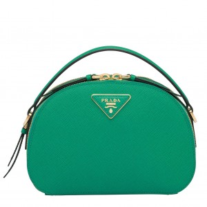 Prada Odette Green Saffiano Leather Bag