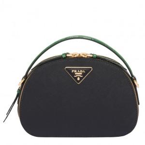 Prada Odette Black Saffiano And Green Crocodile Bag