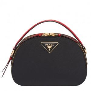 Prada Odette Black Saffiano And Red Crocodile Bag