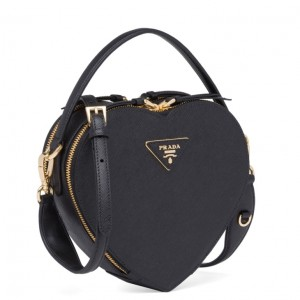 Prada Odette Heart Bag In Black Saffiano Leather
