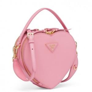Prada Odette Heart Bag In Pink Saffiano Leather