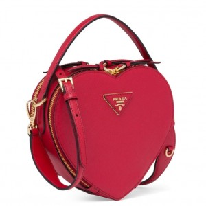 Prada Odette Heart Bag In Red Saffiano Leather