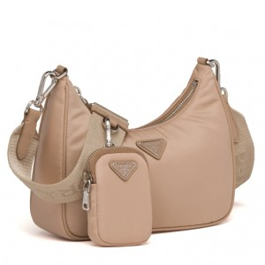 Prada Re-Edition 2005 Shoulder Bag In Beige Nylon