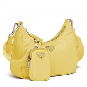 Prada Pineapple Yellow Nylon Re-Edition 2005 Shoulder Bag