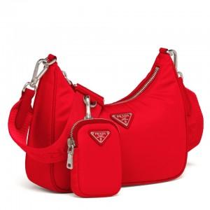 Prada Red Nylon Re-Edition 2005 Shoulder Bag