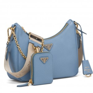Prada Re-Edition 2005 Shoulder Bag In Blue Saffiano Leather