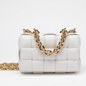 Bottega Veneta Chain Cassette Bag In White Calfskin