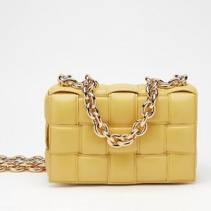 Bottega Veneta Chain Cassette Bag In Yellow Calfskin