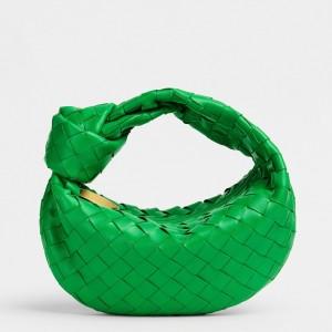 Bottega Veneta Mini BV Jodie Bag In Green Woven Leather
