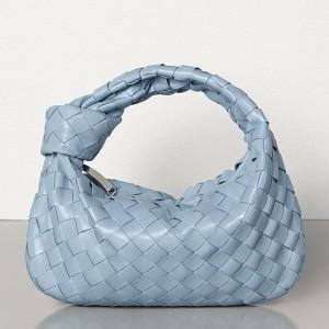 Bottega Veneta Mini BV Jodie Bag In Light Blue Woven Leather
