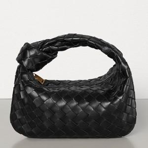 Bottega Veneta Mini BV Jodie Bag In Black Woven Leather