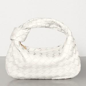Bottega Veneta Mini BV Jodie Bag In White Woven Leather