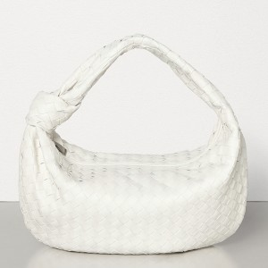 Bottega Veneta Large BV Jodie Bag In White Woven Leather