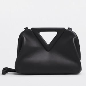 Bottega Veneta Small Point Top Handle Bag In Black Leather