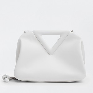 Bottega Veneta Small Point Top Handle Bag In White Leather