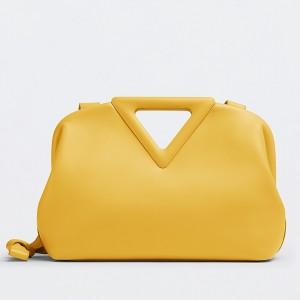 Bottega Veneta Small Point Top Handle Bag In Yellow Leather