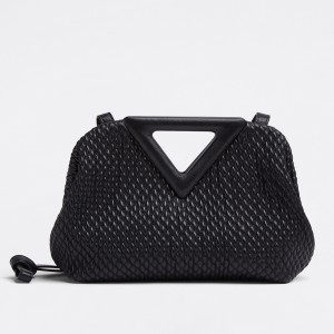 Bottega Veneta Small Point Bag In Black Quilted Leather