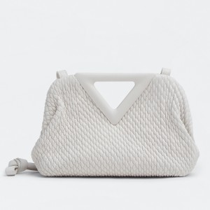 Bottega Veneta Small Point Bag In White Quilted Leather
