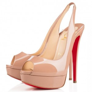 Christian Louboutin Red Patent Lady Peep Sling Pumps 130mm