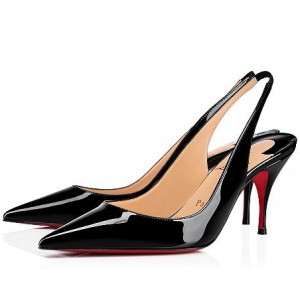Christian Louboutin Black Patent Clare Sling 80mm Pumps