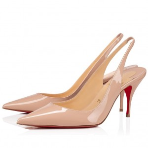 Christian Louboutin Nude Patent Clare Sling 80mm Pumps