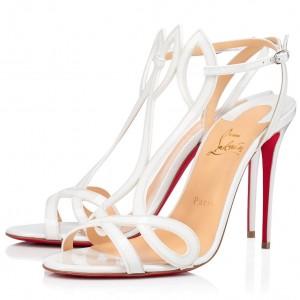 Christian Louboutin White Patent Double L 100mm Sandals