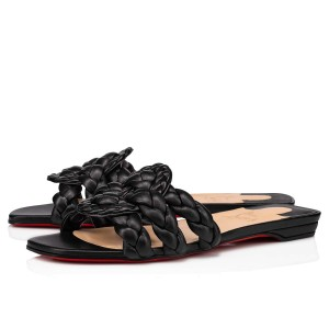 Christian Louboutin Black Nappa Marmela Flat Sandals