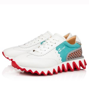 Christian Louboutin Women's White/Green Loubishark Sneakers