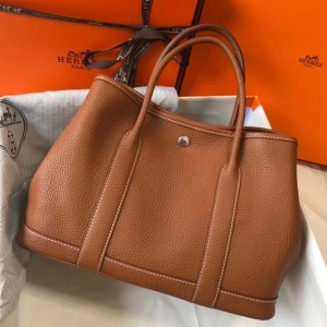 Hermes Garden Party 30 Bag In Gold Clemence Leather