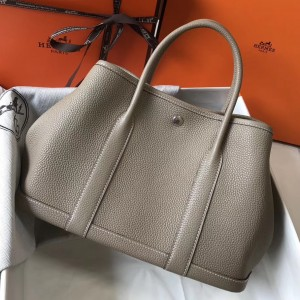 Hermes Garden Party 30 Bag In Grey Clemence Leather