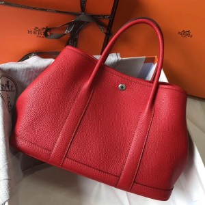 Hermes Garden Party 30 Bag In Red Clemence Leather